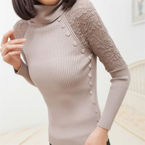 Winter Neck Button Lace Knitted Pullover Female Casual Knitwear