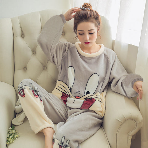 Pajamas Set Sleep Jacket Warm Nightgown Female