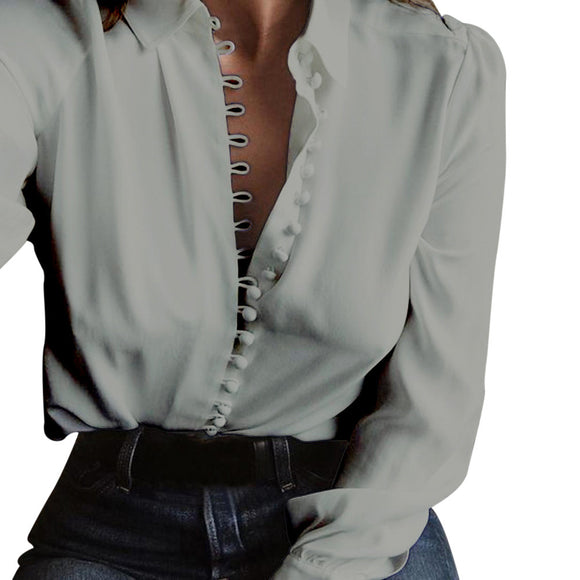 Turn down Collar Long Sleeves  Blouse for  Ladies Office