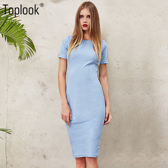 Blue Body con Short Sleeve Women Knee Length  O-Neck Fitness Long Dresses
