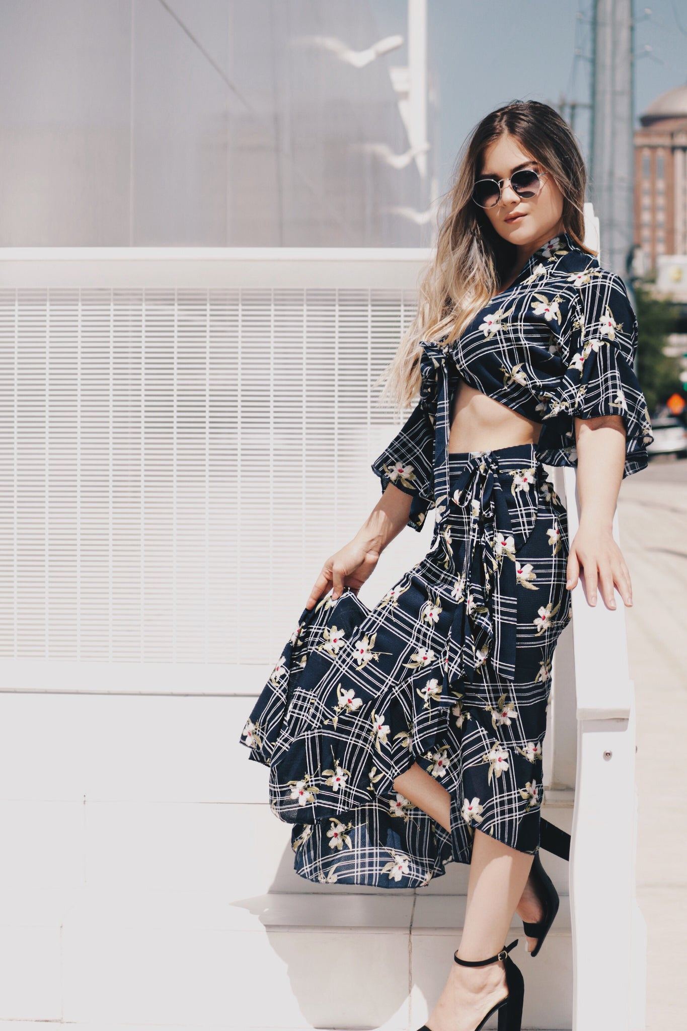 Floral High and Low Skirt