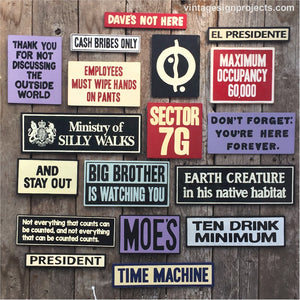 Handmade Pop Culture Signs Collection