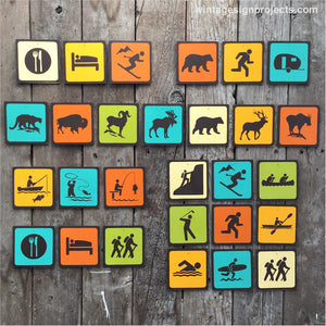 Handmade Vintage Park Icon Sign Sets Collection