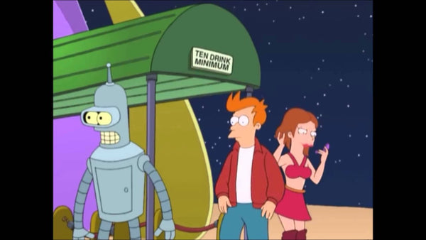 Futurama ten drink minimum sign