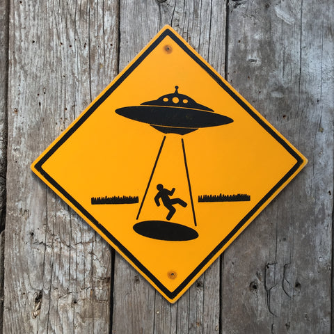 Handmade Vintage UFO Alien Abduction Stickman Warning Sign