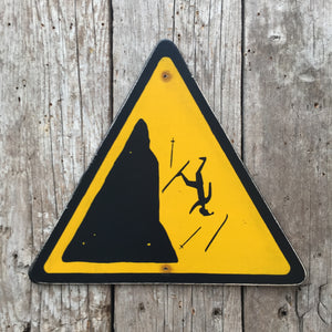 Handmade Vintage Alpine Skier Falling Stickman Warning Sign