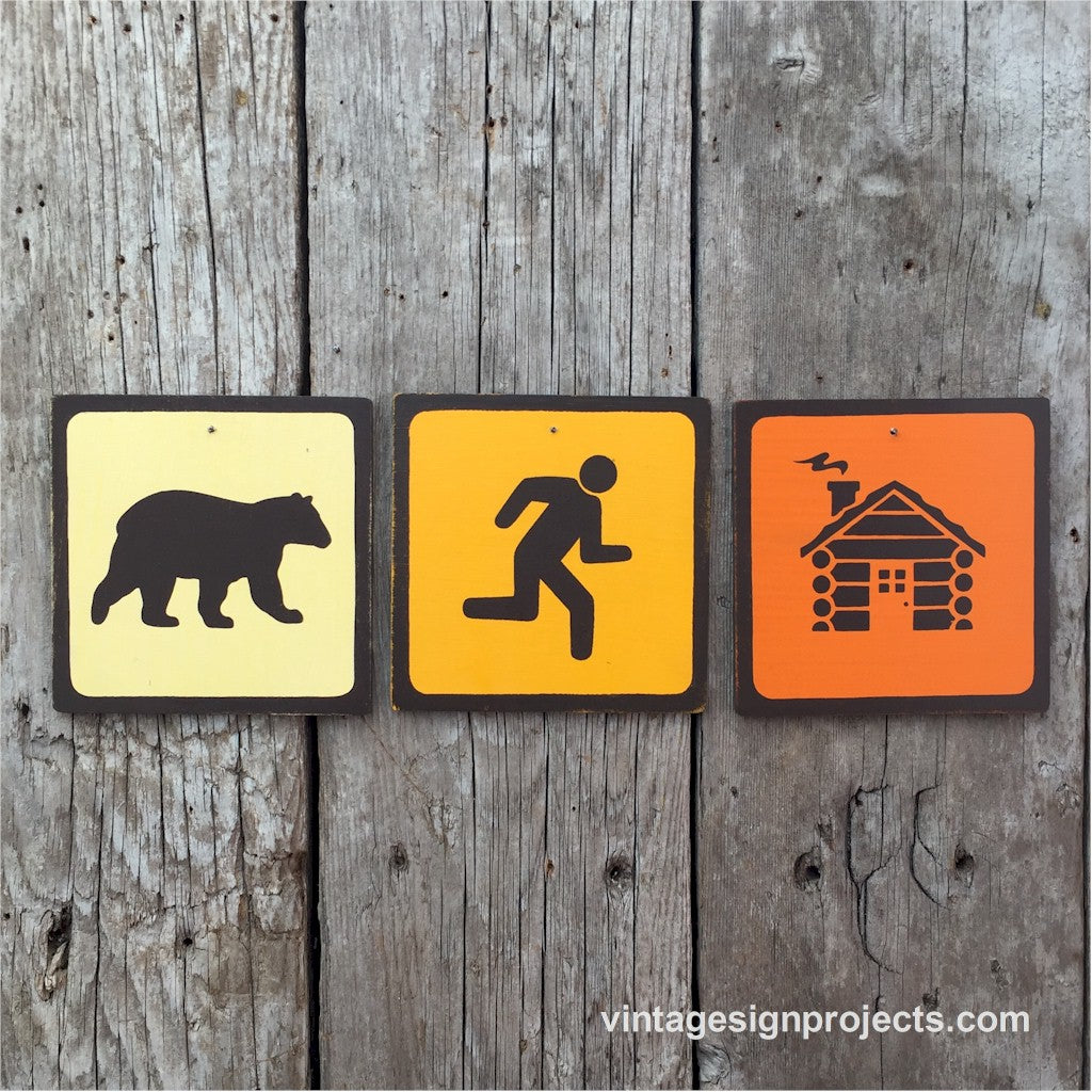Handmade Vintage Bear Chasing Man Into Cabin Park Outdoors Icon Sign Set
