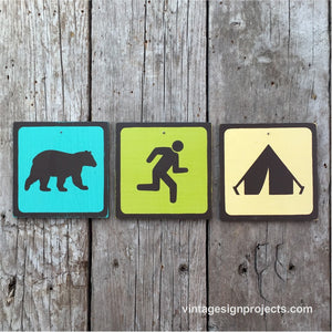 Handmade Vintage Bear Chasing Man Into Tent Park Outdoors Icon Sign Set