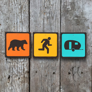 Handmade Vintage Bear Chasing Man Into Trailer Boler Park Outdoors Icon Sign Set