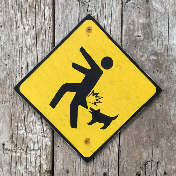 Handmade Vintage Beware Of Small Dog Stickman Warning Sign