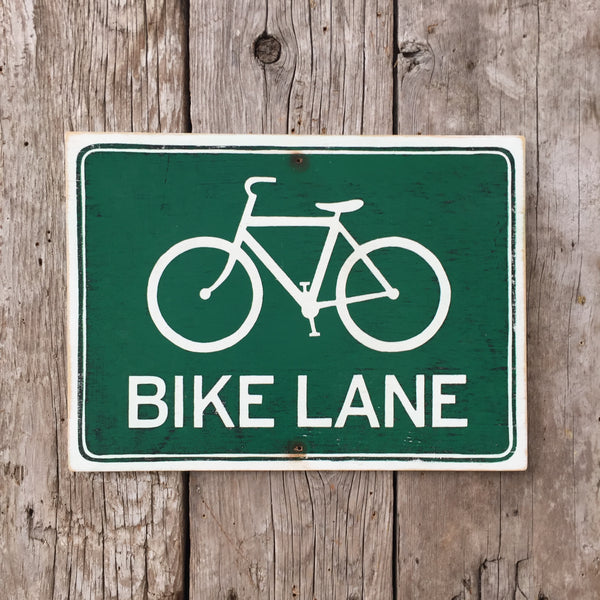 Handmade Vintage Bike Lane Road Sign