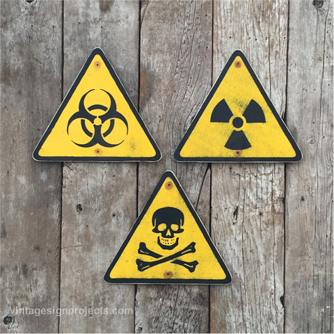 Handmade Vintage Biohazard Radiation Skull And Crossbones Warning Signs