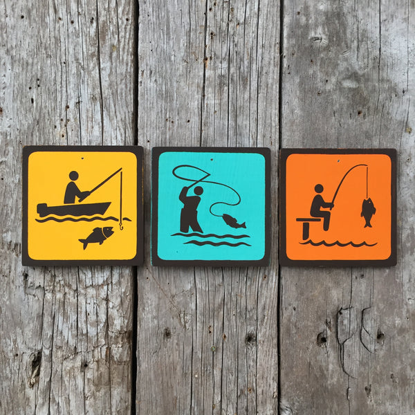 Handmade Vintage Boat Dock Fly Fishing Park Outdoors Sport Icon Sign Set
