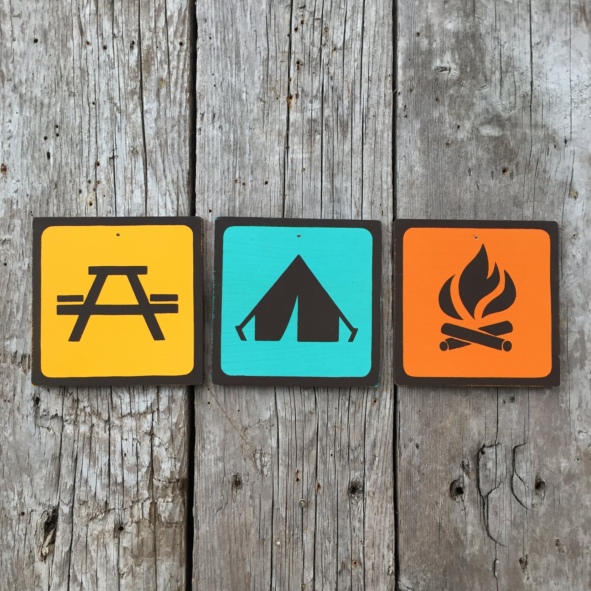 Handmade Vintage Camping Campground Park Outdoors Icon Sign Set