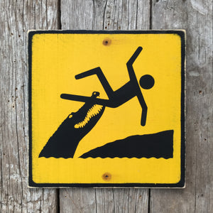 Handmade Vintage Crocodile Or Alligator Stickman Warning Sign