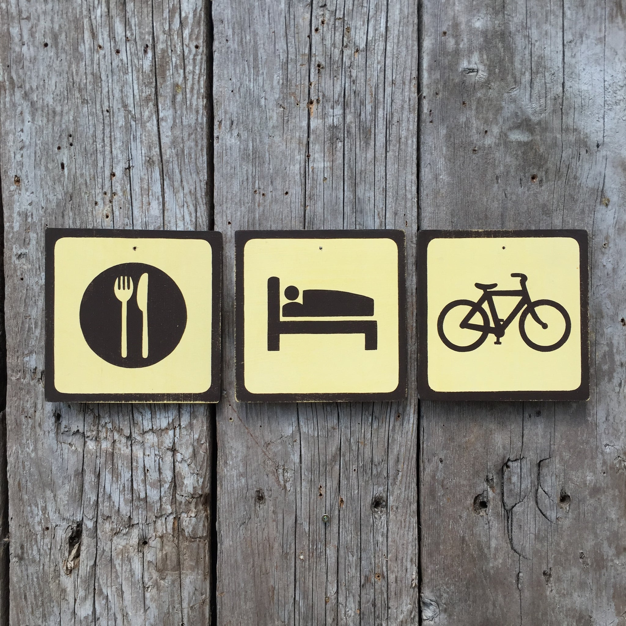 Handmade Vintage Eat Sleep Bike Bicycle Park Outdoors Sport Icon Sign Set