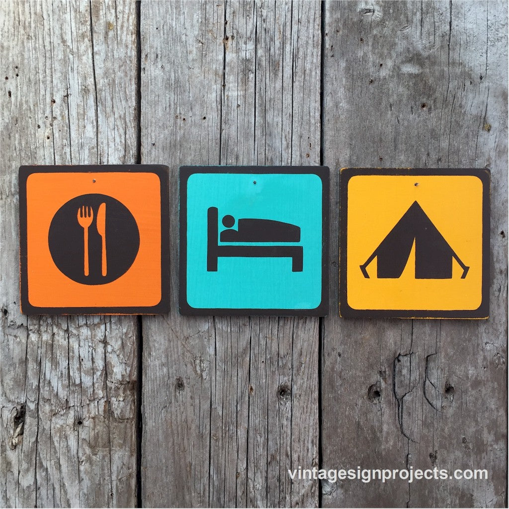 Handmade Vintage Eat Sleep Camp Park Outdoors Icon Sign Set