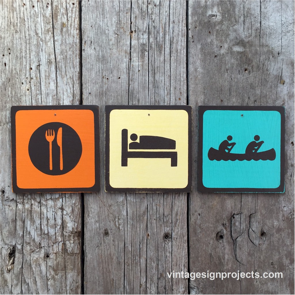 Handmade Vintage Eat Sleep Canoe Park Outdoors Sport Icon Sign Set
