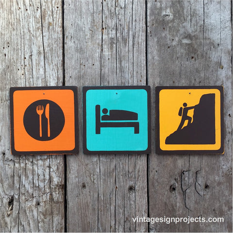 Handmade Vintage Eat Sleep Mountain Climb Park Outdoor Sport Icon Sign Set