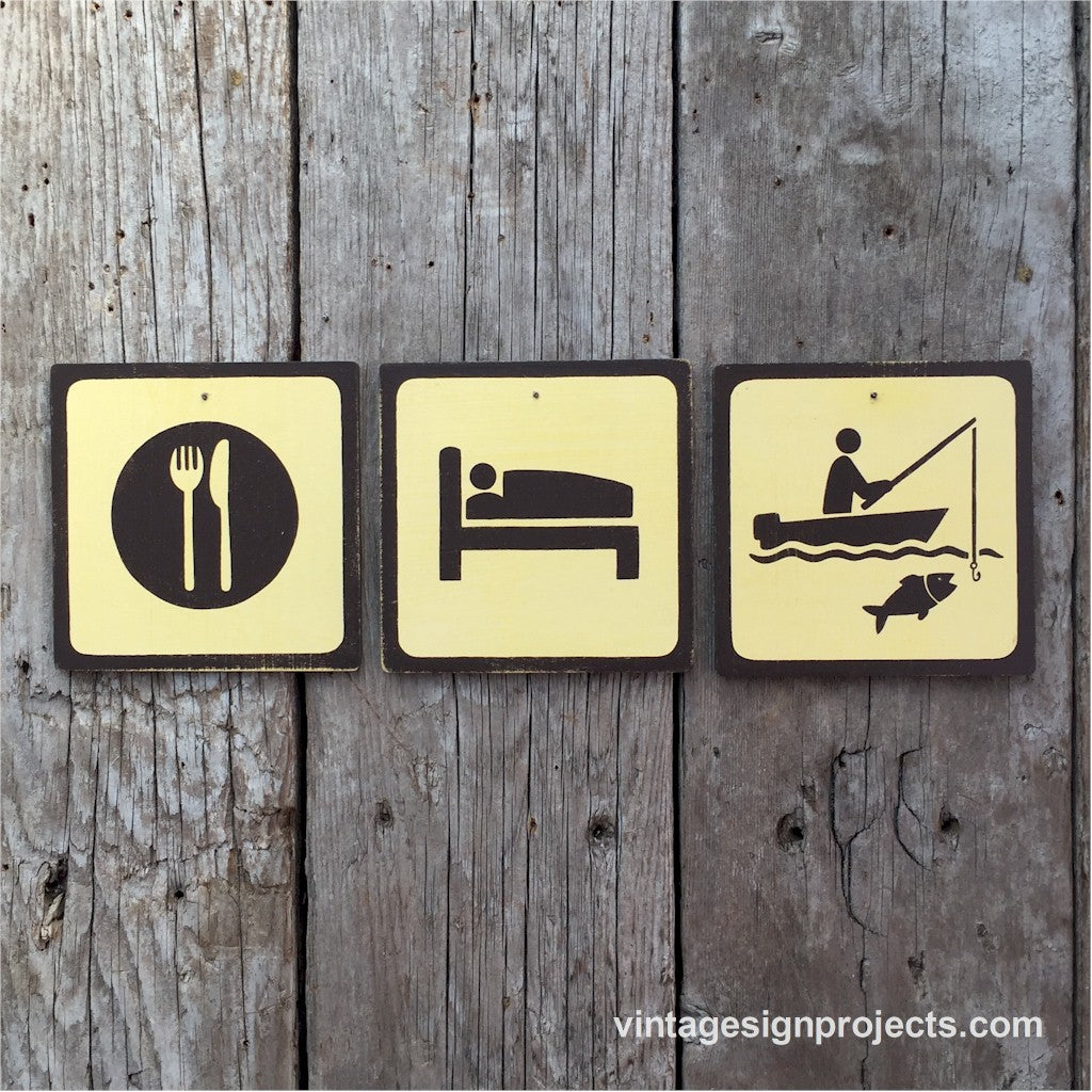 Handmade Vintage Eat Sleep Boat Fish Park Outdoors Sport Icon Sign Set