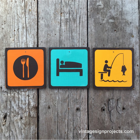 Handmade Vintage Eat Sleep Dock Fish Park Outdoors Sport Icon Sign Set