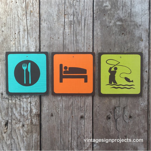 Handmade Vintage Eat Sleep Fly Fish Park Outdoors Sport Icon Sign Set