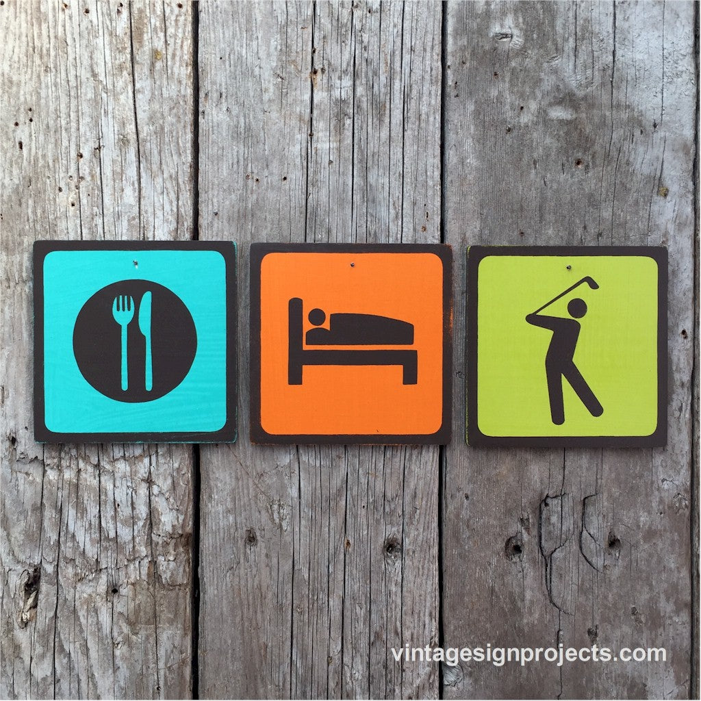 Handmade Vintage Eat Sleep Golf Park Outdoor Sport Icon Sign Set