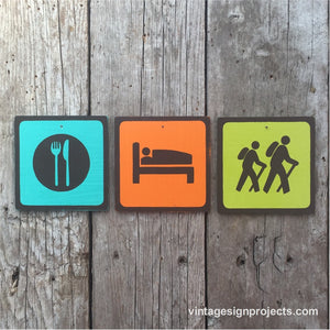 Handmade Vintage Eat Sleep Hike Park Outdoor Sport Icon Sign Set