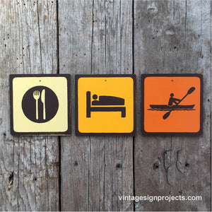 Handmade Vintage Eat Sleep Kayak Park Outdoors Sport Icon Sign Set