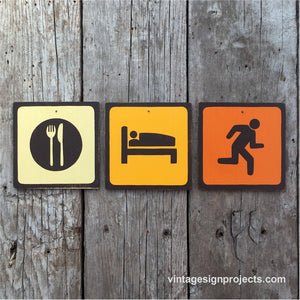 Handmade Vintage Eat Sleep Run Park Outdoor Sport Icon Sign Set