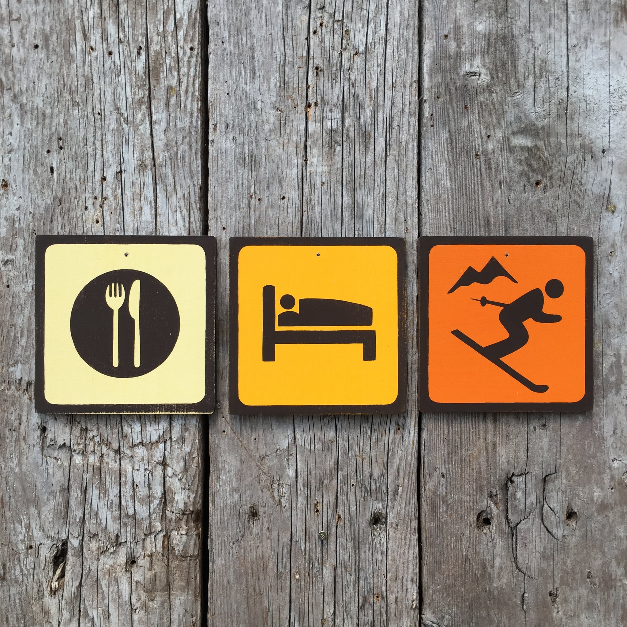 Handmade Vintage Eat Sleep Ski Park Outdoor Sport Icon Sign Set