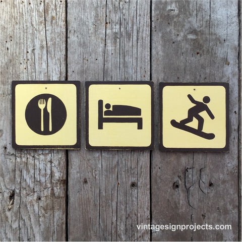 Handmade Vintage Eat Sleep Snowboard Park Outdoor Sport Icon Sign Set