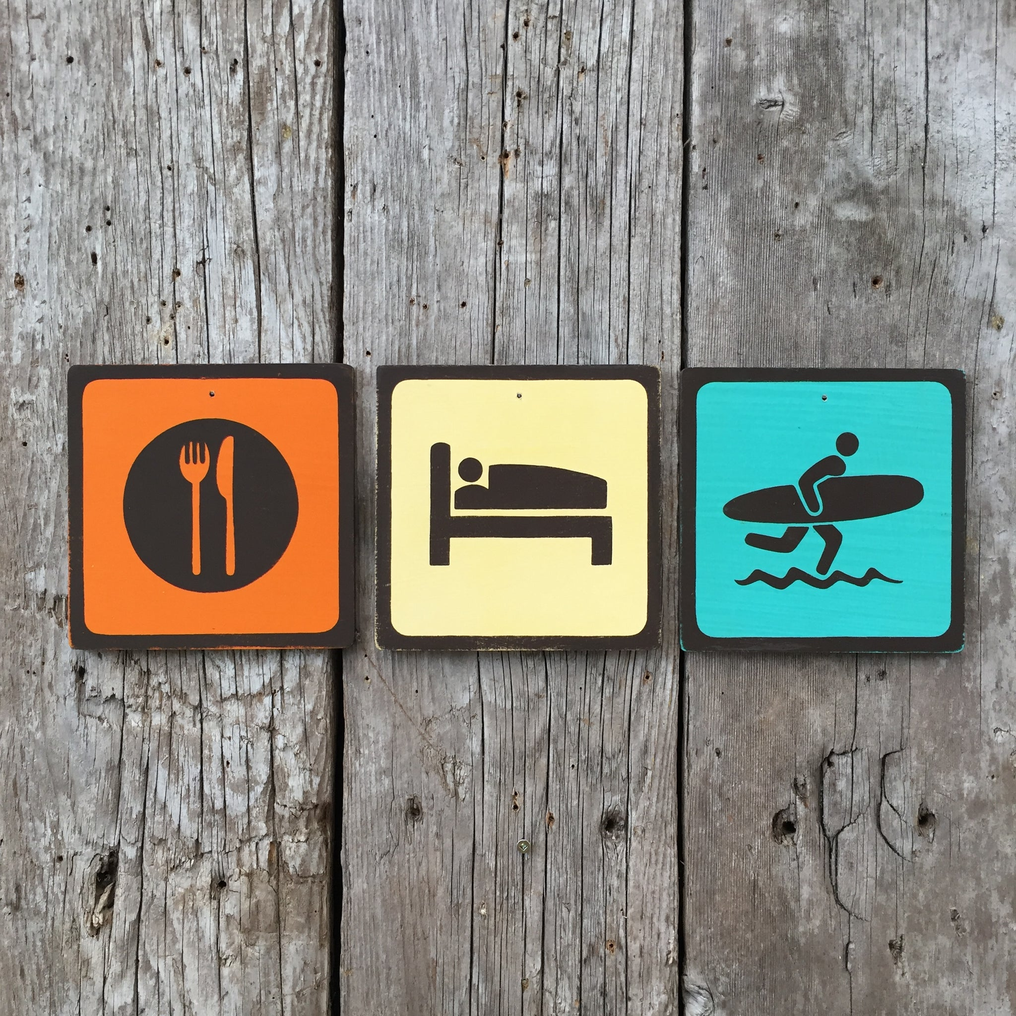 Handmade Vintage Eat Sleep Surf Park Outdoors Sport Icon Sign Set
