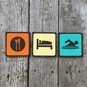 Handmade Vintage Eat Sleep Swim Park Outdoors Sport Icon Sign Set