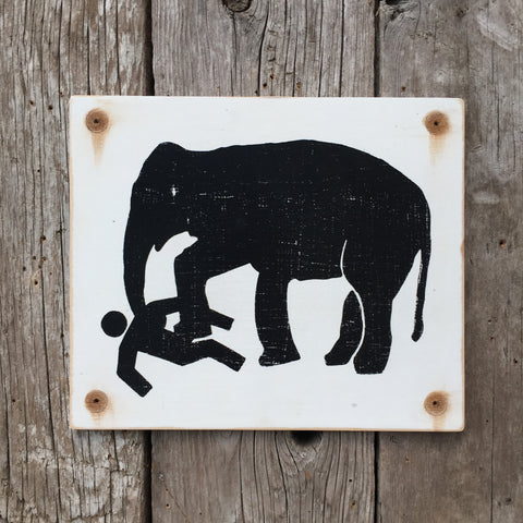 Handmade Vintage Elephant Stickman Warning Sign