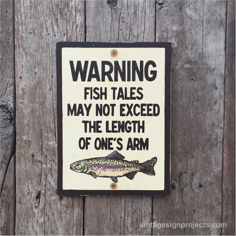 Handmade Vintage Fish Tales Fishing Sign