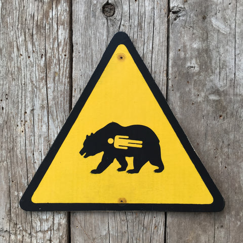 Handmade Vintage Grizzly Bear Stickman Warning Sign