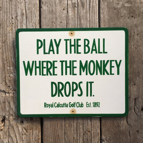 Handmade Vintage Monkey Drops Ball India Golf Sign