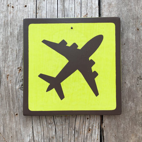 Handmade Vintage Airplane Plane-Fly Outdoors Icon Sign