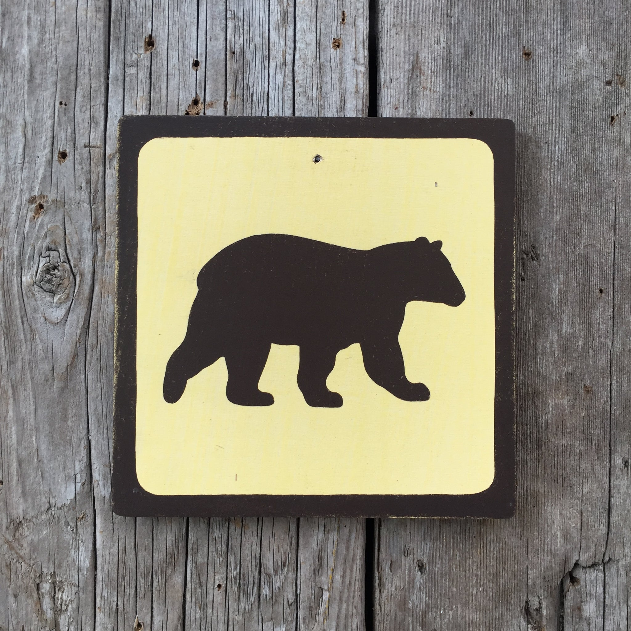 Handmade Vintage Bear Park Wildlife Outdoors Animal Icon Sign