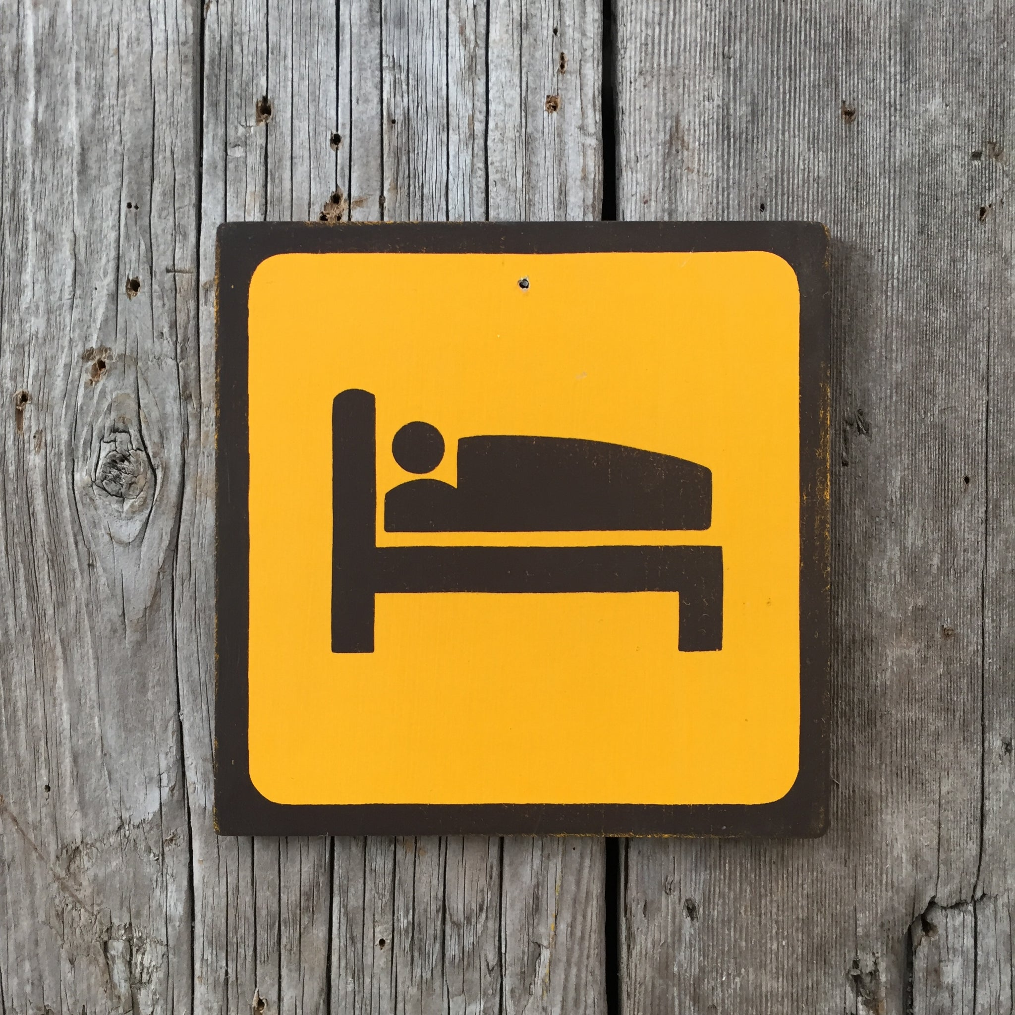 Handmade Vintage Park Bed Sleep Outdoors Icon Sign