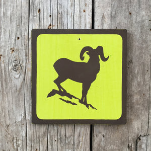 Handmade Vintage Park Bighorn Sheep Wildlife Outdoors Animal Icon Sign