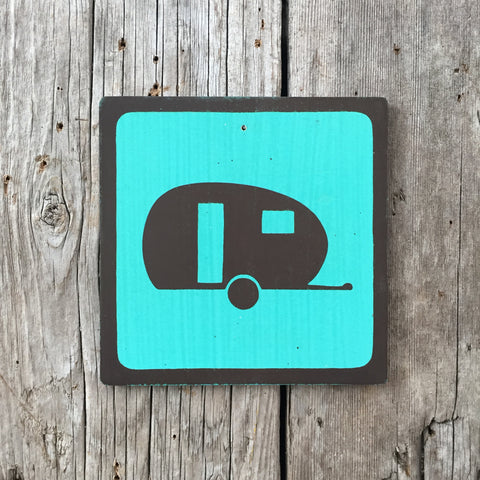 Handmade Vintage Park Boler Trailer Camping Outdoors Icon Sign