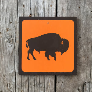 Handmade Vintage Park Buffalo Wildlife Animal Outdoors Icon Sign