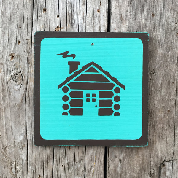 Handmade Vintage Park Cabin Camping Outdoors Icon Sign