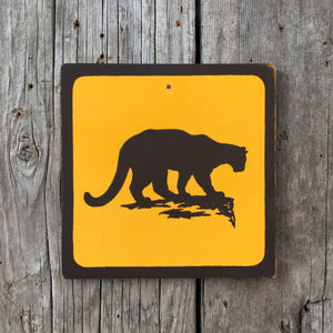 Handmade Vintage Park Cougar Wildlife Animal Outdoors Icon Sign