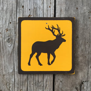 Handmade Vintage Park Elk Wildlife Animal Outdoors Icon Sign