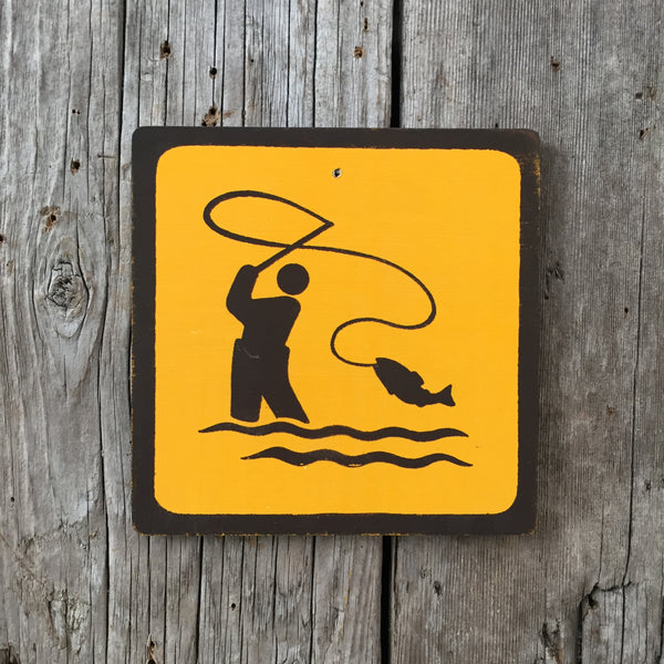 Handmade Vintage Park Fly Fishing Water Outdoors Sport Icon Sign