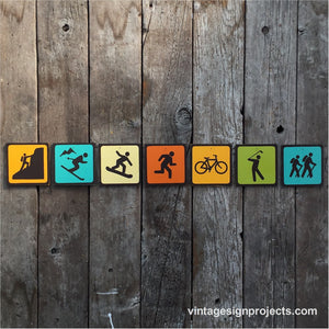 Handmade Vintage Park Outdoors Sport Icon Sign Set