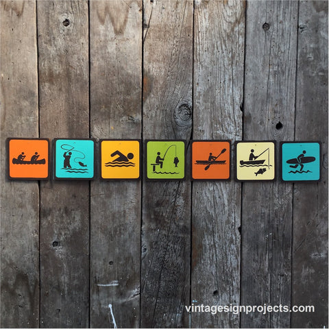 Handmade Vintage Park Outdoors Water Sport Icon Sign Set